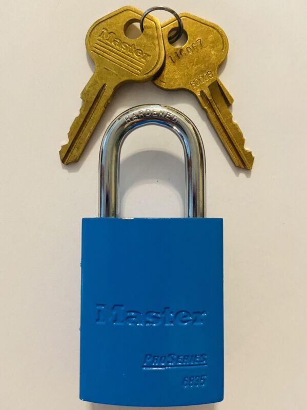 New Master Lock Pro Series 6835BLU Blue Lockout Padlock With Keys