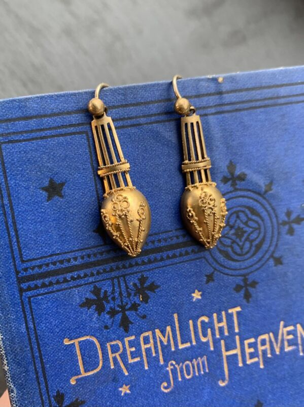 Antique Yellow Metal Etruscan Earrings