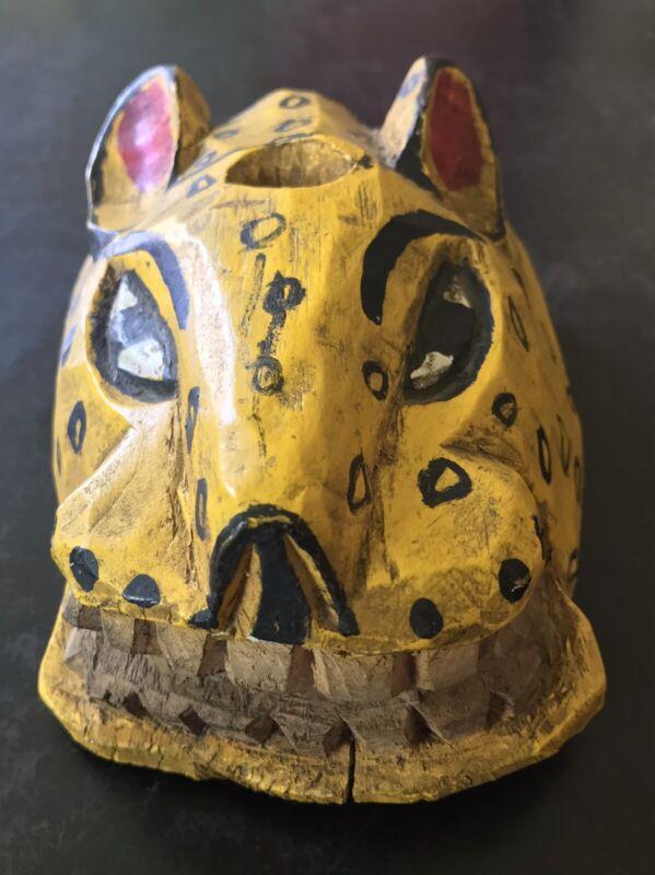 Vintage Handcrafted Wooden Jaguar Mask from Guatemala
