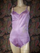 Vintage USA Purple Silky Nylon & Sheer Lacy Teddy Panty Romper M