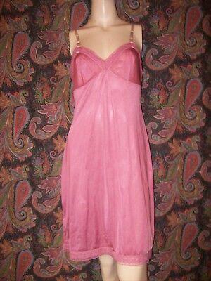 Vtg Vanity Fair Pink Silky Nylon Empire Slip Nighty Lingerie 34
