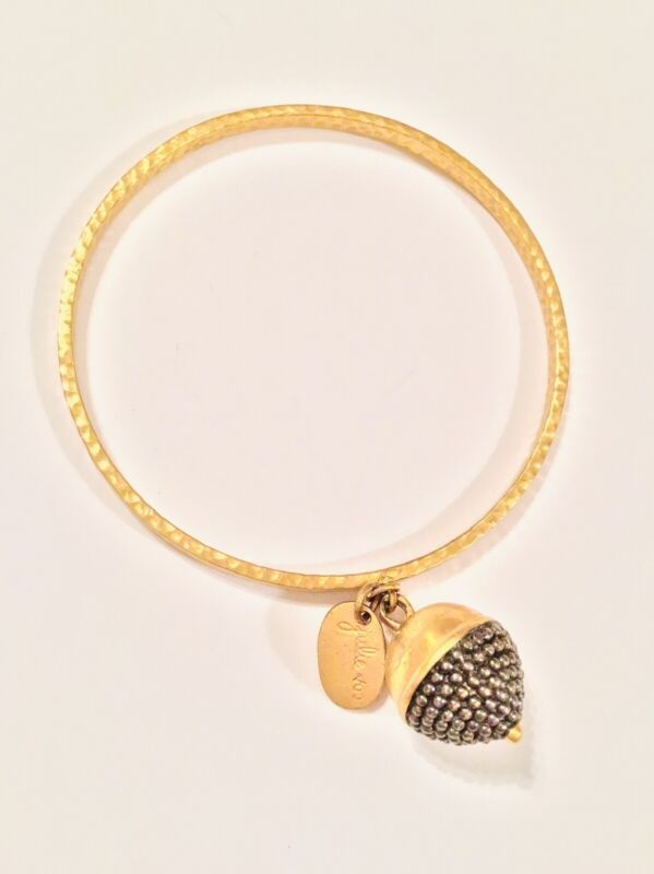 Julie Vos Signed Gold Tone Bangle Bracelet with Acorn Charm