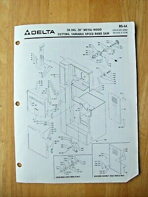 Delta 20 Metal Wood Cutting Var. Speed Band Saw 28-345 Parts List Bs-4a
