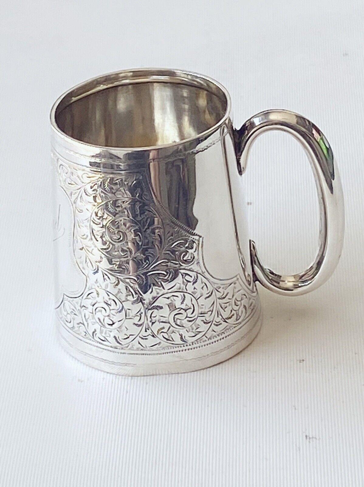 Vintage Engraved Sterling Silver Baptism Cup Birmingham 1910. Engraved Michael,  - $129.00