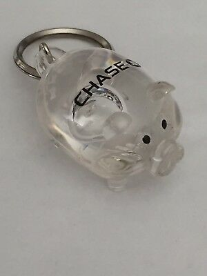 Chase Bank Clear Pig Keychain  Very Rare Chase Collectible    New