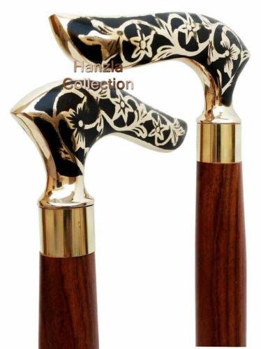 Designer Brass Solid Handle Antique Style Victorian Cane Wooden Walking Stick