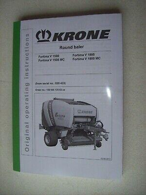 Krone Round Baler Fortima V 1500 V 1500 Mc V 1800 V 1800 Mc Operator Manual 2011