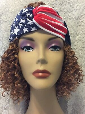 New Women Headband Stars Stripes Red White And Blue Deep Solid Blue