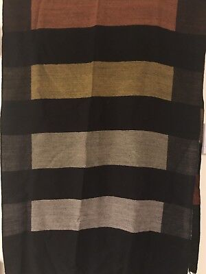 Fine Wool Shawl/Wrap. with Alternating Bands of Black, Sienna, and Olive 25X80
