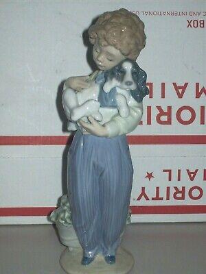"Lladro MY BUDDY Glossy Fine Porcelain 8"" BOY HOLDING DOG Figurine #7609"