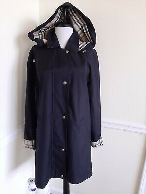 BURBERRY Women's Black Nova Check Trench Coat Removable Hood Snap Buttons Size 4