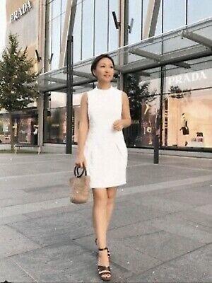 Karen Millen Fully Lined Dress Size 10 White Textured, Low Waist, Side Pockets