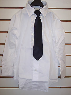 Boys White Dress Shirts w/ Assorted Clip-On Ties Size 4/5 - 10/12 - White Dress Shirt Boys