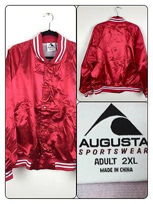 Augusta Sportswear Red Satin Striped Trim Baseball Jacket Bomber Adult XXL - Augusta Sportswear Satin Baseball Jacket