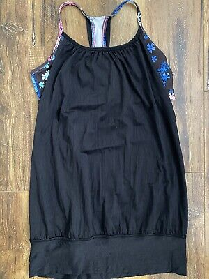 LULULEMON Black Floral No Limits Tank Top With Built In Sports Bra 6