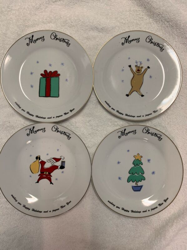 Set of 4 Merry Brite Christmas Dessert Salad Plates Santa Reindeer Tree Gift