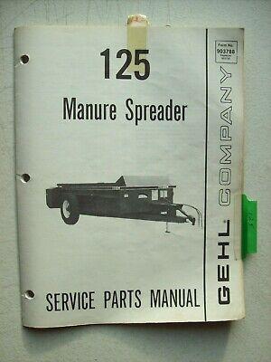 Original Gehl 125 Manure Spreader Service Parts Manual