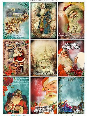 9 Christmas Santa Hang Tags Scrapbooking Paper Crafts (345)