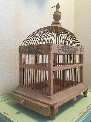 Vintage Primitive Folk Art Wood Wire Domed Hand Painted Floral Bird Cage