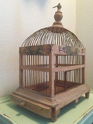 Vintage Primitive Folk Art Wood Wire Domed Hand Painted Floral Bird Cage  - Vintage Birdcage