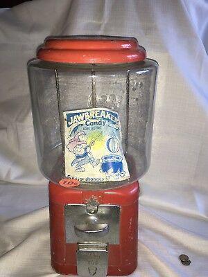 Vintage Acorn A&A OAK Mfg. Round RED 10 Cent GUMBALL MACHINE Jawbreaker Label