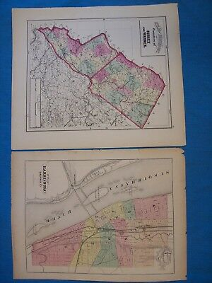 2 Antique Maps of City of HARRISBURG (PA) & Counties of SUSSEX and WARREN (NJ)