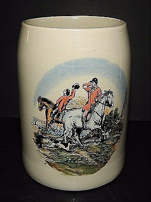English Style Tankard Beer Stein Mug Fox Hunt Theme 0.5 Litre Stoneware Vintage