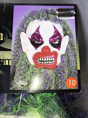 Super Scary Clown (Vintage Totally Ghoul Super Hair Clown Vinyl Mask Long Curly Hair SCARY)