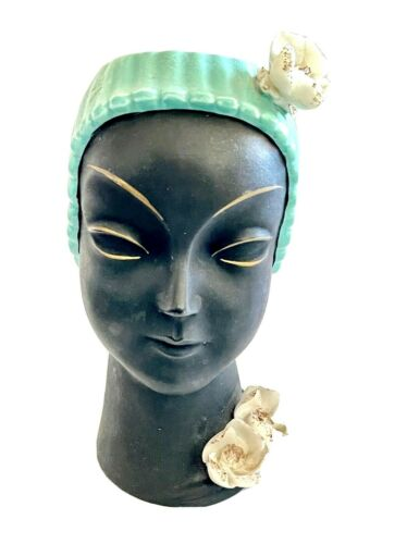 Black Lady Head Vase White Roses Gold Accents Vintage