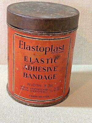 Elastoplast Elastic Adhesive Bandage - VINTAGE ELASTOPLAST ELASTIC ADHESIVE BANDAGE ROUND TIN T J SMITH & NEPHEW LTD