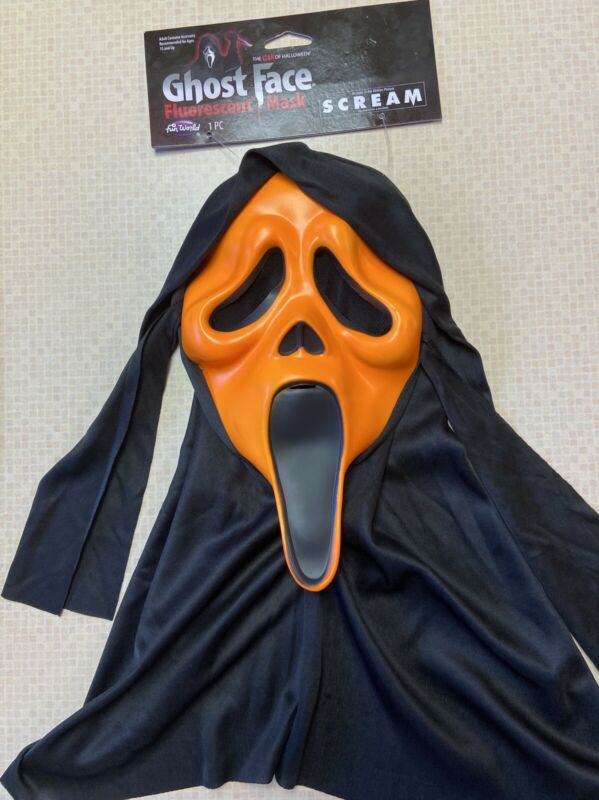SCREAM Mask Fluorescent Orange Fun World ghostface ghost face Halloween