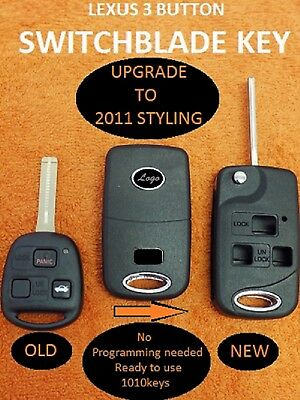 """LEXUS PRE-CUT UPGRADE to your 3B REMOTE FOB KEYS to """"NEW"""" SWITCHBLADE KEY SHELL"""