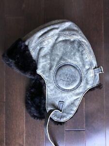 Chapeau aviateur en vrai cuir et fourrure Harricana