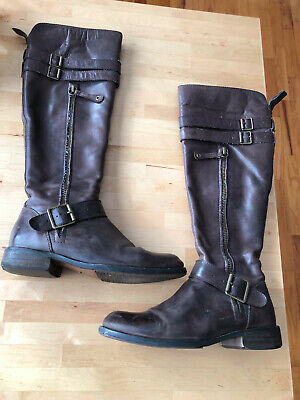 Miz Mooz Kellen Brown Leather Knee-High Boots Sz 7.5 Steampunk Engineer Cosplay