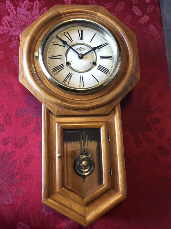 D & A Regulator Wall Clock W/ Decorative Pendulum