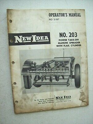 Original New Idea No. 203 Manure Spreader With Flail Operators Parts Manual