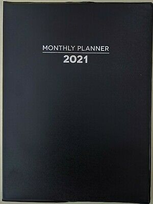 """2021 Planner-Black, Monthly Format, 10"""" x 7.5"""", Lay Flat Spin"""