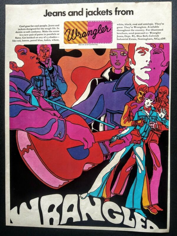 WRANGLER JEANS & JACKETS 1970 VINTAGE PRINT AD
