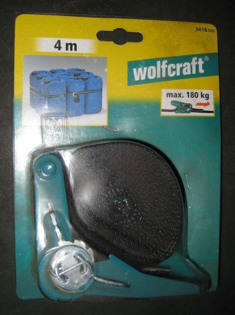 Wolfcraft 3418000   Ratschen-Bandspanner L=4m,  Spannkraft 180 kg,
