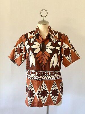VTG 50's Hawaiian Tiki Unisex Shirt Top By Sincere Tailor Co. Sz S-M Mint!