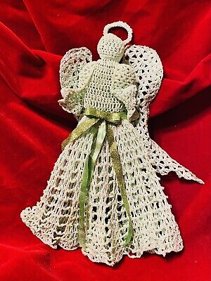 """Christmas Tree Topper Handcrafted Crochet Angel 12"""""""