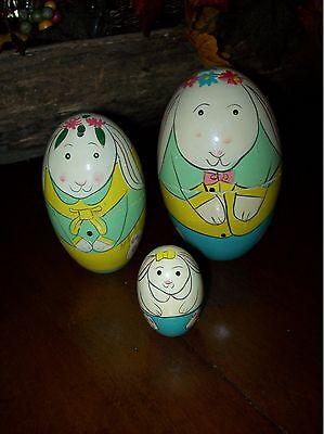 Vintage Nesting Easter Eggs Easter Bunny Family Nesting Eggs Set 3 Easter Decor
