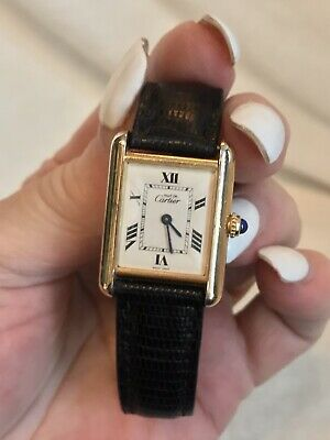 Vintage Cartier Vermeille 18K Gold Over Sterling TANK WATCH, Snake Cartier Band