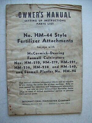Original International Hm-44 Fertilizer Attachments Owners Parts List Manual