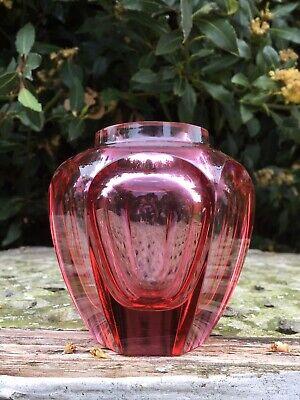 Vintage Bohemian Art Glass MOSER Pink Faceted Vase Czech Cut Josef Hoffmann Deco