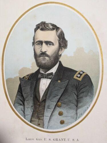 1860s Lieutenant General Ulysses S. Grant Lithograph Print Portrait President