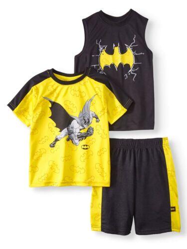 Batman 3 PC Short Sleeve Shirt Shorts Outfit Set Boy Size 5/6