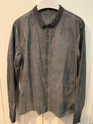 Label Under Construction Men's Black Cold Dye Button Down Shirt, XXL for sale  Shipping to United States