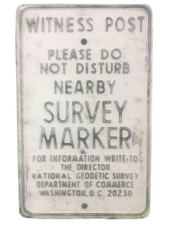 Vintage Embossed Sign Survey Marker Witness Post Department of Commerce WASH DC
