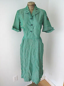 Real Vtg 50's Girl Scout Leader Green Uniform Dress Kentucky Cardinal Patches